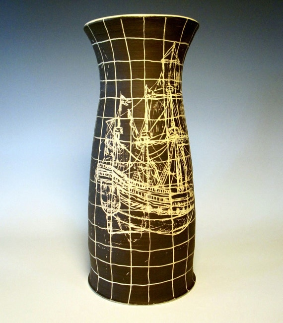 CLEARANCE - Pottery Ship Vase Dark Brown Etched Ceramic Nautical Home Decor