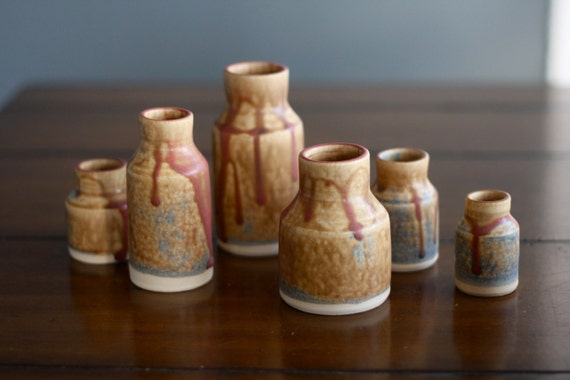 SALE - Pottery Mini Vase Set in Earthy Brown set of 6