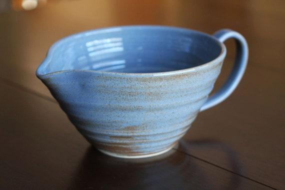 Pottery Batter Bowl Blue Speckle Ceramic Serving DIsh Kitchen Bowl with Handle