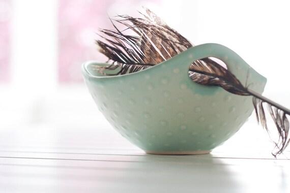 Pottery Bowls - Soft Seafoam Green Polka Dot Bowl with Handle - Noodle Bowl