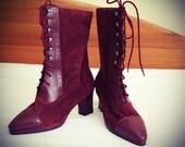 Amazing Saddle Style Red Lace-Up Boots sz.6