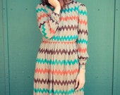 Vintage 1970's Brown Zig-Zig Zag Dress sz. S/M