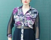 80's Half Floral Sheer Button Up Blouse sz. M