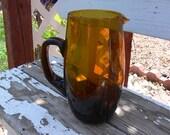 Vintage Amber Glass Juice Pitcher -
