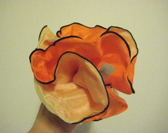 Vintage Orange Sherbet Yellow Double-Layer SILK ROUND HANDKERCHIEF for Jacket Coat Pocket - Made in France - trending 2014