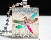 Dragonfly Scrabble Tile Pendant