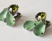 Continental's Rhinestones and Glass Green on Green Earrings