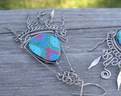 Hippie Chick Silver Ceramic Earrings