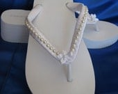 SALE - Bridal White Wedge Flip Flops or Ivory Flip Flops with Pearl and Flower Design White Wedge Flip Flop