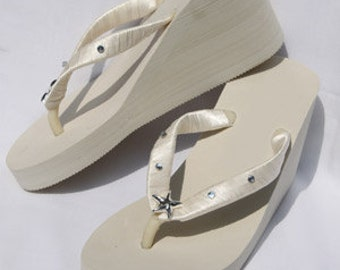 SALE - Bridal Ivory Wedge Flip Flops or White Flip Flops with Starfish and Rhinestones Design