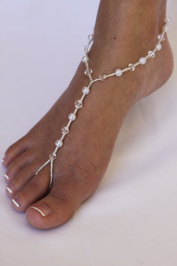 RESERVED FOR ASHLEY Bridal Barefoot Sandals Beach by ...