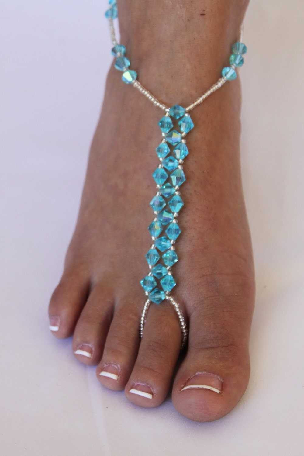 Barefoot Sandals Bridal Crystal Beach Wedding Foot By