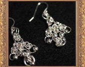 Chainmaille Lace Sterling Silver Chandelier Earrings with Silver Beads (Free US Shipping)