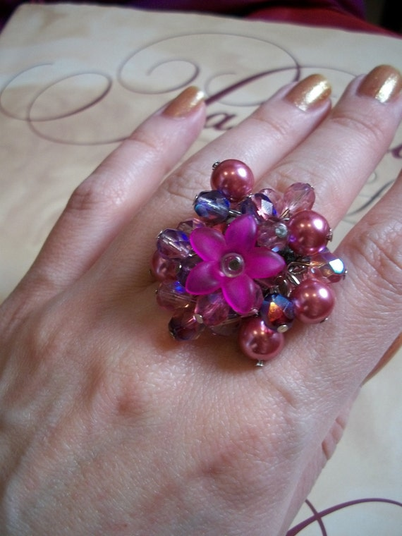 Gypsy Cocktail Ring - Beaded Cluster Ring with Magenta Lucite Flower - Statement,Bohemian, Pink, Purple, Pearls,