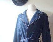 SALE 50% OFF - 1970s denim jacket / long trench style, blue denim with belt / small, medium
