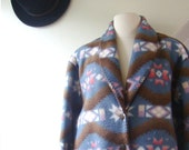 vintage fleece jacket / 1980s / tribal southwestern print in sky blue with buttons and pockets / medium, large, extra large