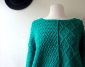 vintage sweater / 1980s / teal oversized, slouch fit with contrasting knit patterns / small, medium, large