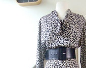 vintage dress / 1980s / black and white leopard print secretary dress, tie collar, long sleeves / large, extra large