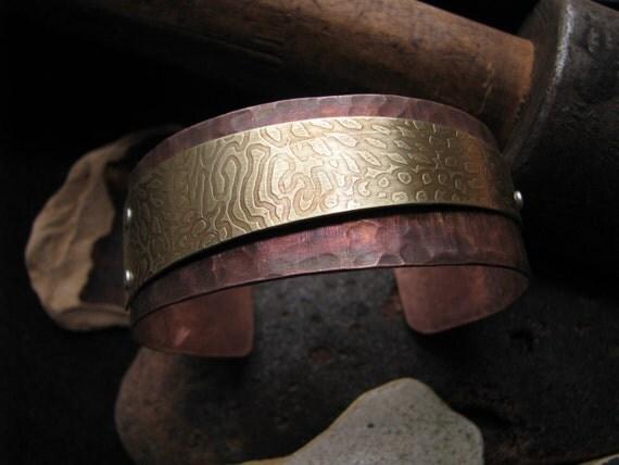 Copper cuff bracelet, Oxidized Copper and Bronze Cuff, mixed metal bracelet, handmade metal cuff