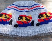 Super Mario Inspired Mario Hand Knit Beanie RESERVED for SARAH