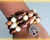 Brown Wood beaded Tree of Life memory wire bracelet