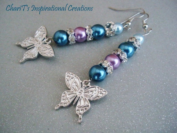 Blue and Lavender Glass Pearl Butterfly Earrings