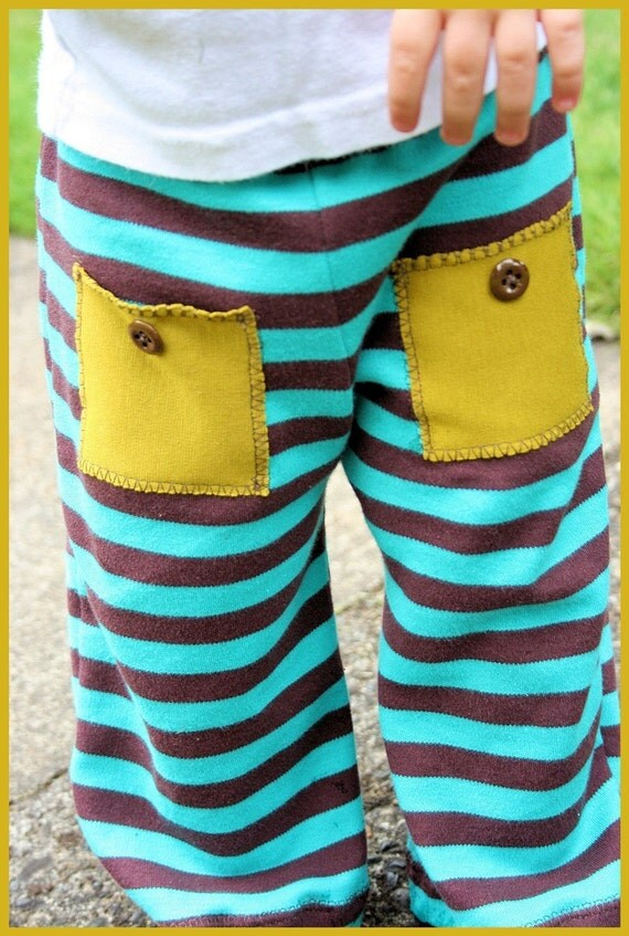 LAST CHANCE Stripy Pocket Pants (sizes NB to 2t)