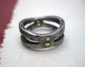 Knight - forged iron ring with brass rivets - Italy Handmade
