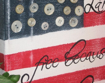 American flag freedom canvas hand painted