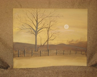 Hand painted acrylic original landscape with trees on canvas