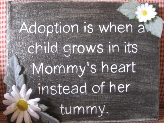 Adoption  the heart of a mom hand painted on canvas perfect for  a special gift