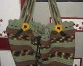 Large Crochet Tote purse beach bag stripes