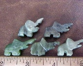 5 Hand Carved Green Jade Elephants Figure 1.5 inch Top Drilled Hole