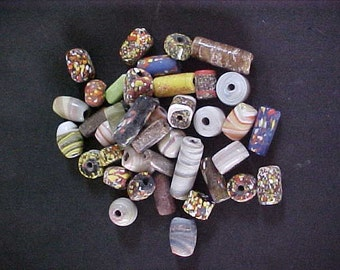 Glass Beads Over 1/2 LB Assorted Shapes & Sizes