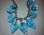 Black Chain, Blue Leaves Necklace Earrings Set