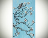 RESERVED for kvhill87 Blossom Bird original acrylic painting on with canvas Great Gift