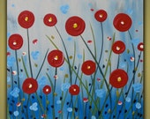 Spring Poppies original painting on canvas Great Gift
