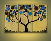 Blue Swirl Tree triptych original acrylic painting on canvas large 3 panel