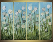 Original abstract painting Tulips acrylic on canvas 4 panel large Great Gift