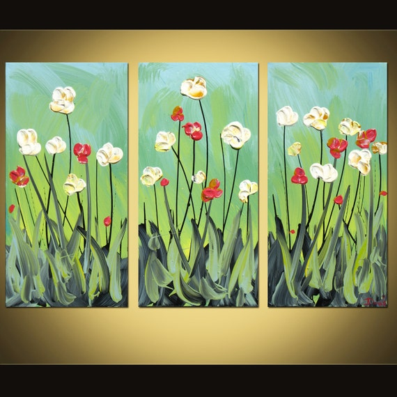 Original abstract flower painting acrylic on canvas 3 panel large Great Gift