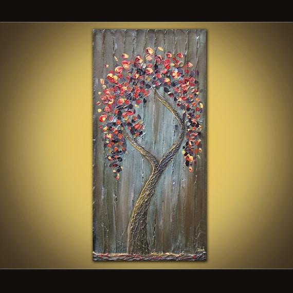 Lone Tree original acrylic painting on canvas 18 x 36