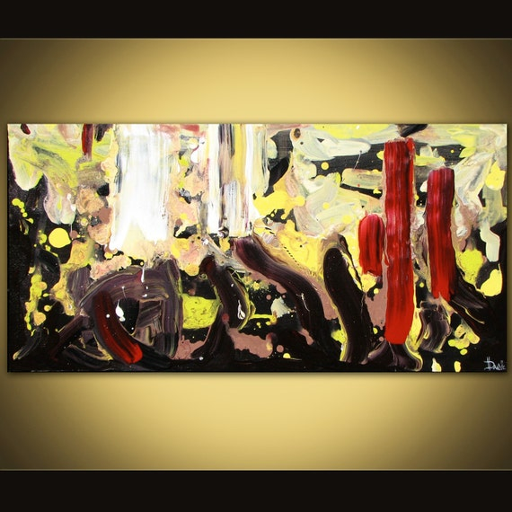 Abstract painting large 3ft long original acrylic on canvas