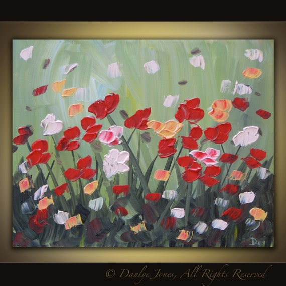 Original acrylic flower painting on canvas modern abstract contemporary art 20 x 16 SALE