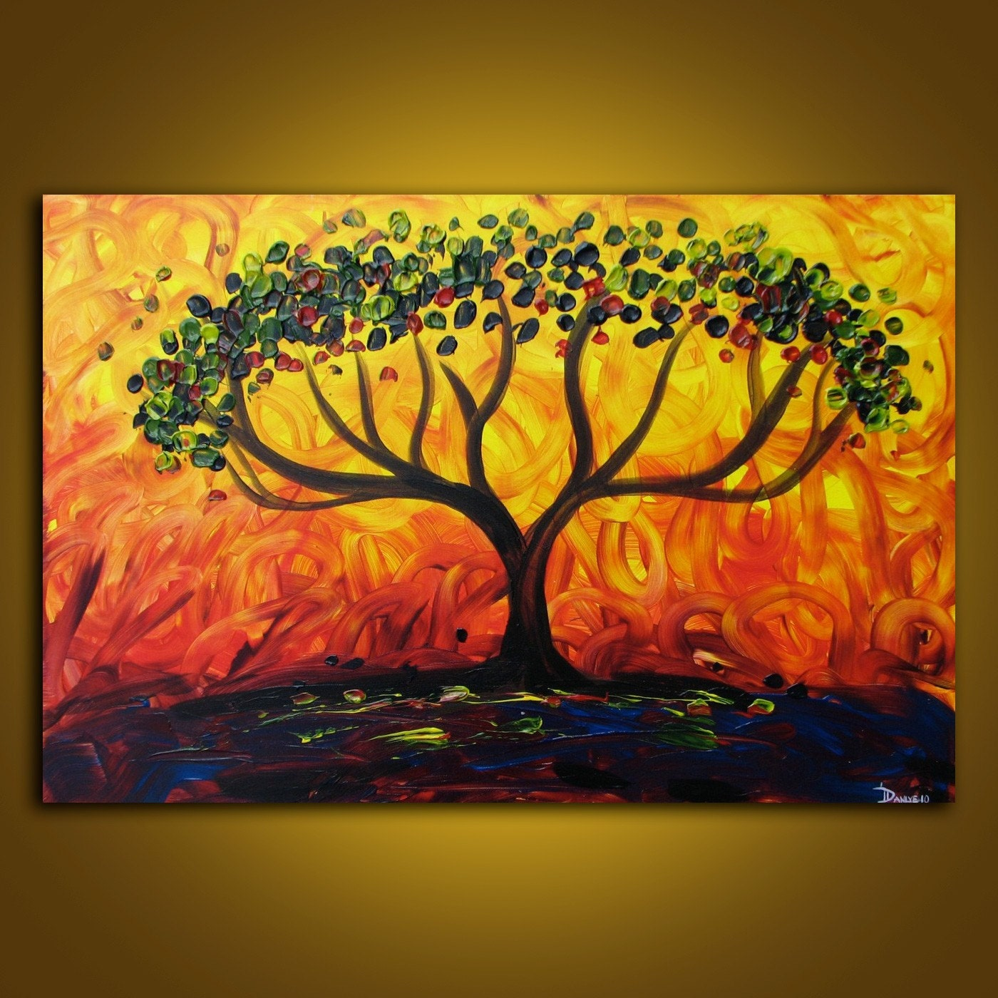 Fire Tree Original Acrylic Painting On Canvas 3ft X 2ft Large