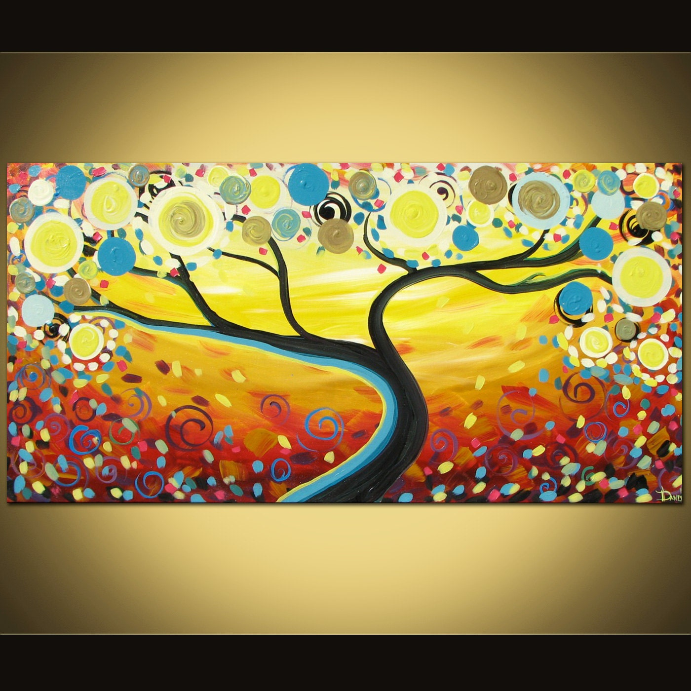 Original abstract painting Swirl Tree acrylic art on canvas
