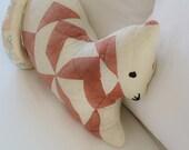 Cat Quilt Pillow Primitive Stuffed Animal, Cat Tales Halloween Folk Art - Upcycled