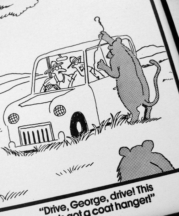 Far Side Lion Safari Park Attack Cartoon