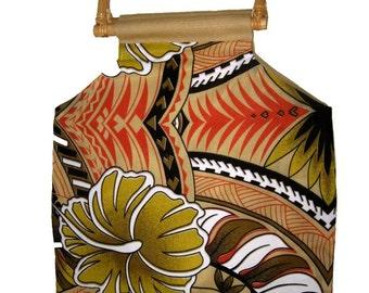 Tropical Vintage Print Handbag with Rattan Handles