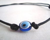 Luck of the Eye, Evil Eye Black Cord Necklace Adjustable Nazar Mati Protetion