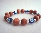 Luck of the Eye, Evil Eye Wood Beads Stretch Bracelet Nazar Protection